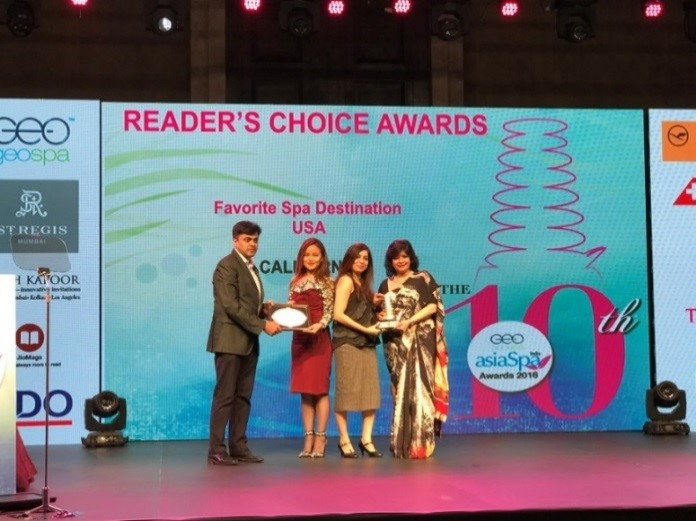 "INDIA – California Wins ""Favourite Spa Destination"" Award at the Asia Spa Reader's Choice Awards 2017"