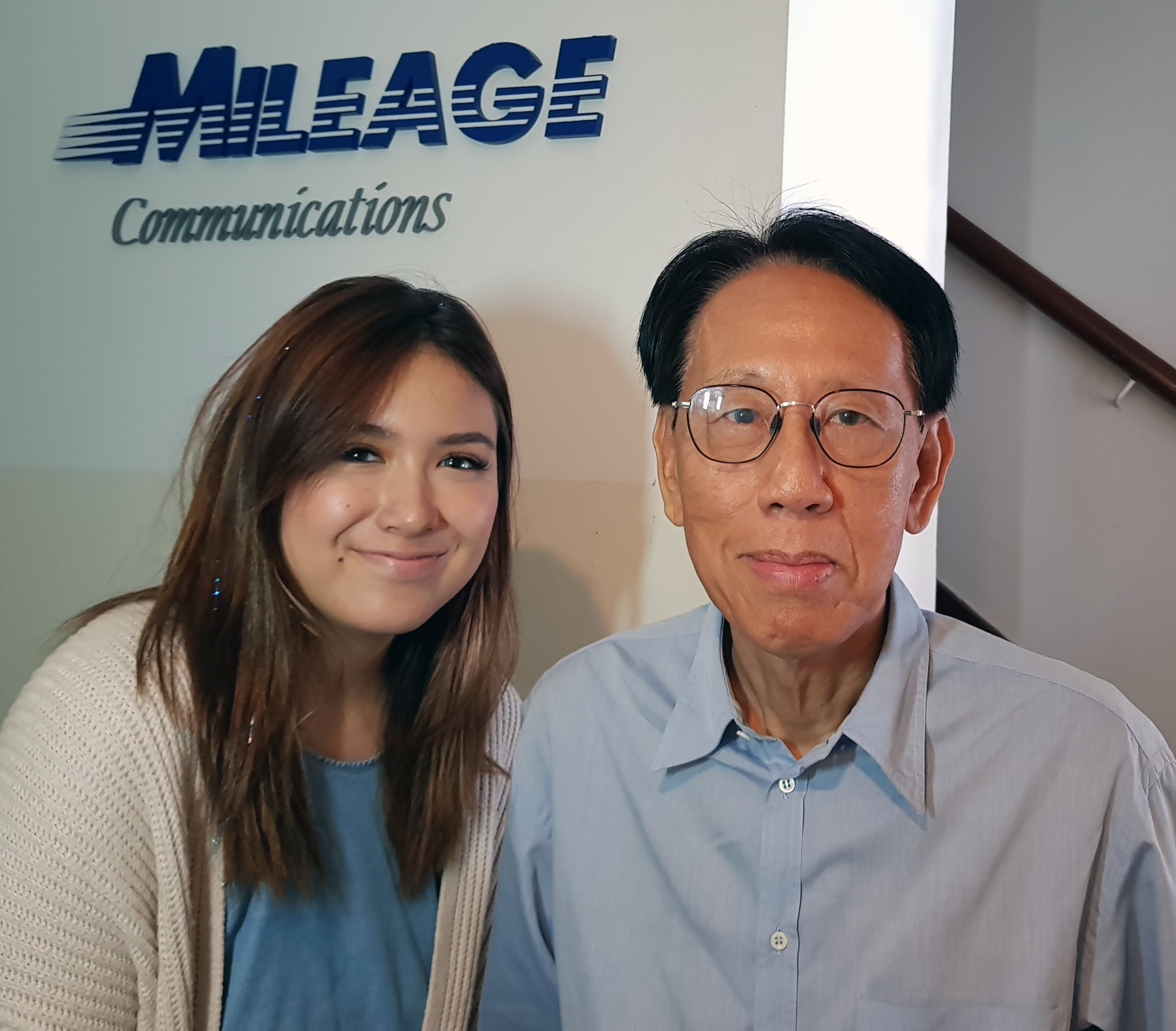 Mileage Communications Group Chairman Mr. Yap Boh Tiong With Chiara Toto, An Intern From Ngee Ann Polytechnic's School Of Film & Media Studies.