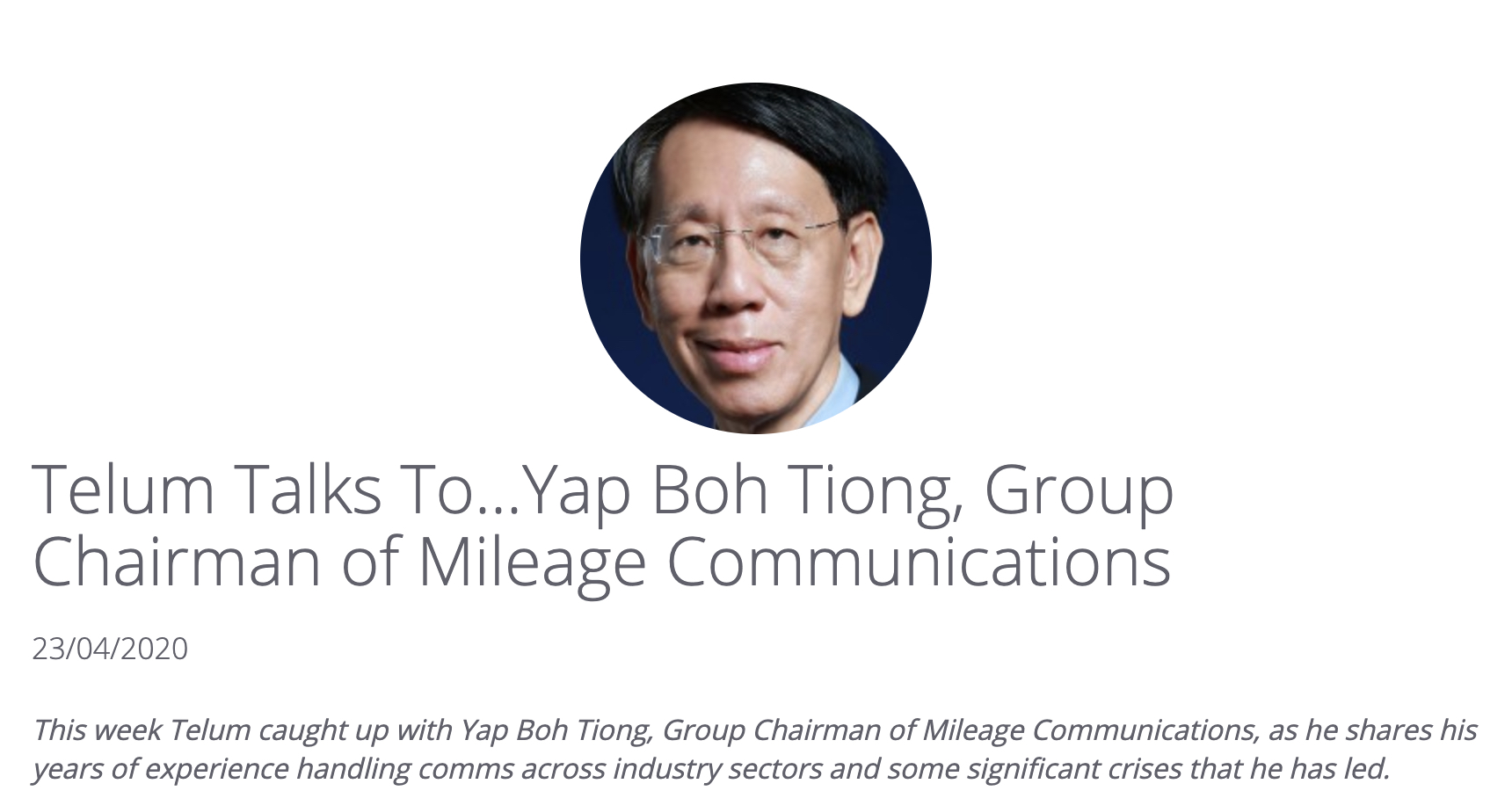 Telum Talks To Mileage Communications Group Chairman Mr. Yap Boh Tiong